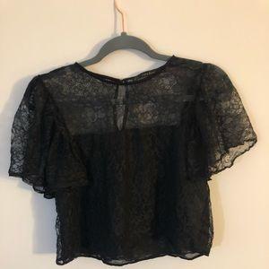 Zara Basics Black Lace Crop Top